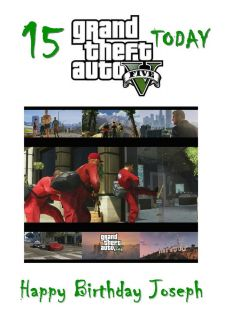 Grand Theft Auto 5 Personalised Birthday Card Son V Xbox PS3 PC Video