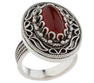 Artisan Crafted Sterling TelkariFiligree Oval Carnelian Ring