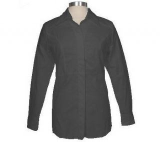 Susan Graver Stretch Poplin Empire Waist Button Front Shirt —