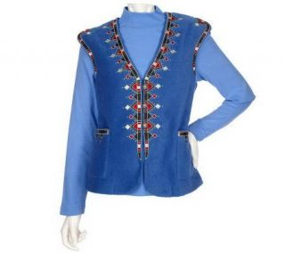 Bob Mackies Embroidered Fleece Vest & Turtleneck Set   A83473
