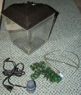 Gallon Corner Aquarium Fish Tank with Air Pump and Hosing Air Stone