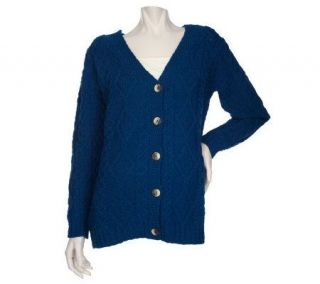 Aran Craft Merino Wool Button Front V Neck Cardigan —