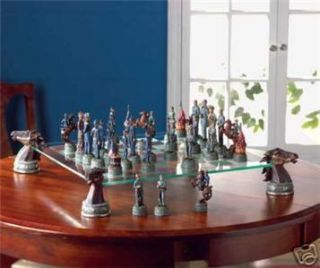 Deluxe Etched Glass Civil War Pedestal Chess Set Games