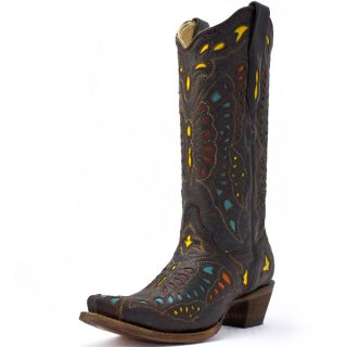 Corral Ladies Multi Color Butterfly Cowgirl Boots Red Yellow Turquoise