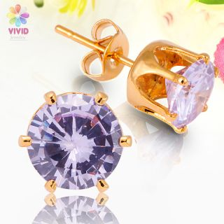 Lady Fashion Jewelry Round Cut Purple Tanzanite Yellow Gold GP Stud