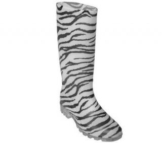 Journee Collection Womens Zebra Print Rain Boots —