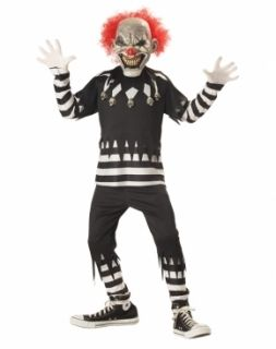 Psycho Clown Kids Boys Girls Halloween Costume Scary M