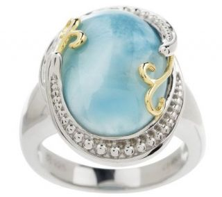 Sterling Oval Larimar Two tone Swirl Ring —