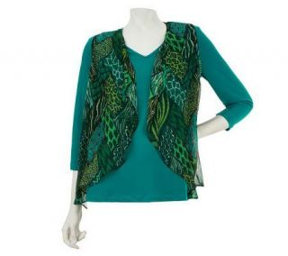 Bob Mackies Animal Print Georgette Vest and T shirt Set   A226904