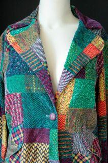 Multicolor Patchwork Print Corduroy Cotton Blazer Sz M