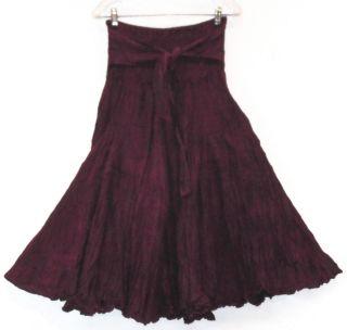 Sacred Thread Plum Crinkled Cotton Ties Hippie Boho Gypsy Skirt Lined