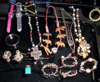 Vintage Costume Jewelry Lot Items necklaces earrings bracelets watches