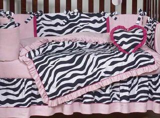 Cheap Pink Black Zebra Print Discount Baby Girl Crib Bedding Designer