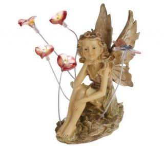 Solar Fairy Garden Statuette with Lighted Flowers & Dragonfly