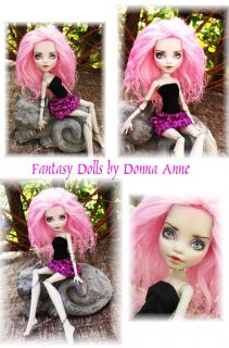 Frankie Stein Custom Monster High Doll Repaint Pink Mohair Reroot OOAK