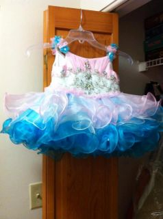Cotton Candy Color Girls Full Glitz Dress Size 2 3