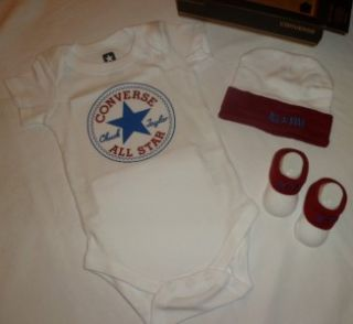 Converse All Star Logo Baby Boys Onesie Romper Set Hat Shoes Booties
