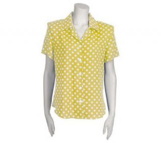 Susan Graver Polka Dot Notch Collar Camp Shirt —
