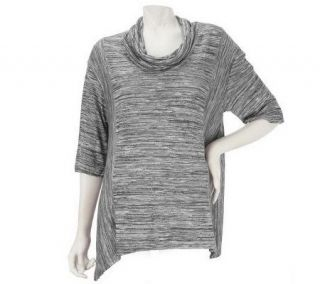 LOGO by Lori Goldstein Cowl Neck Space Dyed Knit Top   A227080