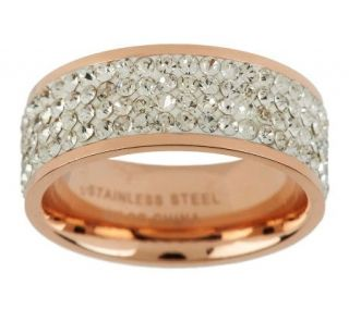 Steel By Design Silk Fit Rose Gold Crystal Band Ring —