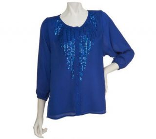 Bob Mackies Scoopneck Sequin Feather Button Front Crinkle Blouse