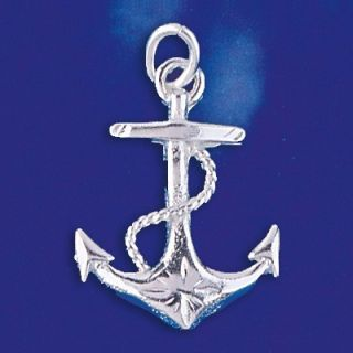 Sterling Silver Mariners Cross Anchor Pendant Sailor Charm Solid 925