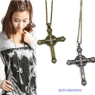 Retro Vintage Bronze Crown Cross Pendant Necklace Double Cross for Men
