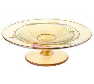 Fenton Art Glass Autumn Gold Iridized Candle Plate —