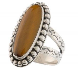 Southwestern Choice of Sterling Beaded Oval Gemstone Ring —