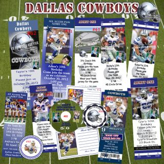 Dallas Cowboys Birthday Invitations Thank You Cards Stickers Labels