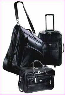 Pierre Cardin 3 Piece Leather Luggage Collection —