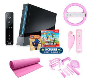 Nintendo Wii Super Mario Bundle w/Wheel, Yoga Mat, Accessories