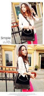 Tote PU Clutch Lady Fashion Sexy Cool Lux Punk Rivet Suede Nut