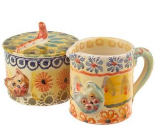 Modigliani Handpainted Festa Cat Design Cream& Sugar Set —