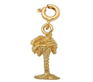 14K Yellow Gold 3 D Palm Tree Charm —