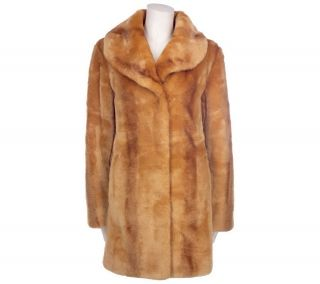 Dennis Basso Textured Faux Fur Shawl Collar Coat —