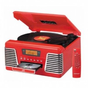 Crosley Retro Red 33 45 78 RPM Record Player Turntable Radio CD Player