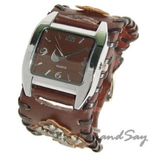 K091 Brown Leather Cross Wristband Watch Bracelet New