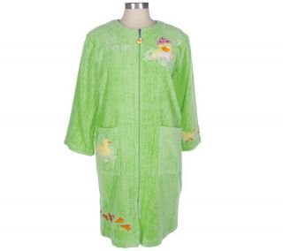 Quacker Factory Queen Duck Terry Cloth Zip Front Caftan Robe