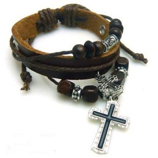 Cross Wrist Band Bracelet Multi Wrap Leather Super Silver Black Charm