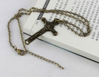 Antiqued Bronze Cross Pendant Chain Necklace 20029
