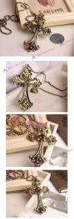 style vintage bronze crystal cross pendant long chain necklace lkx0058
