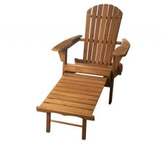 Merry Products Solid Wood Fold&Reclining AdirondackChair with Ottoman