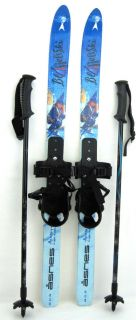 Kids Nordic Cross Country Skis Bindings and Adjustable Poles 90 cm