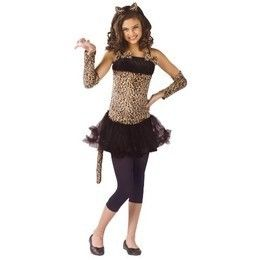 Girls Cat Costume Kitty Leopard Cheetah Halloween Fancy Dress Ears