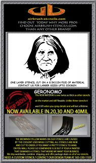 GERONIMO airbrush stencil template harley paint ~ NEW DESIGN!!