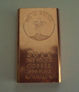 Pound Risen Christ 999 Fine Copper Bullion Art Bar