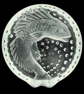 LALIQUE CONCARNEAU KOI FISH CRYSTAL ASHTRAY FRANCE ART GLASS