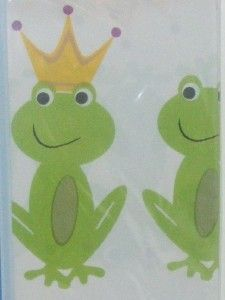 PRINCE Vinyl Shower Curtain~Crystal Bay~Smily Froggy~Kids~White/Green