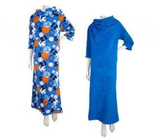 Set of 2 Cozy For Kids Super Soft Fleece Blanket w/ Sleeves —